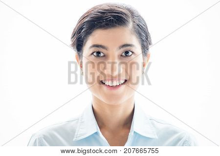 Cheerful inspirited Asian girl looking at camera against white background. Portrait of positive purposeful female intern ready to achieve big goals. Aspirations concept