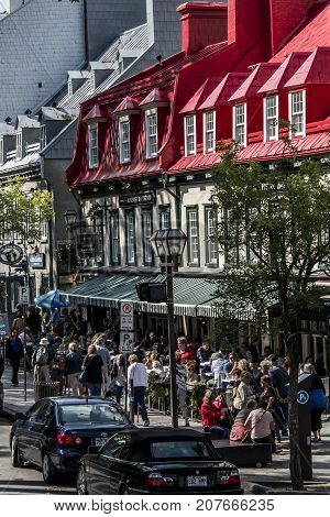 QUEBEC CITY, CANADA 13.09.2017 - Red roof of the famous Auberge du Tresor restaurant and hotel in the historic old town of Quebec City