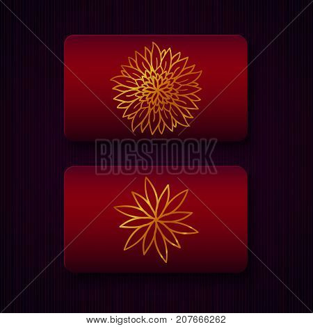 Luxury business cards templates in red and golden colors on dark background. VIP gift card designs. Greetings card layout. Vector EPS10 file.