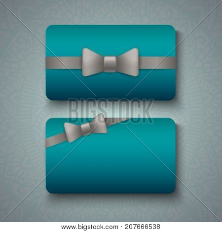 Luxury business cards templates in blue color with silver ribbon bows on grey background. VIP gift card designs. Greetings card layout. Vector EPS10 file.