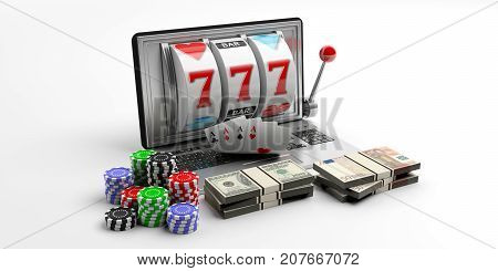Slot Machine On A Laptop Screen, Cards, Money And Poker Chips. 3D Illustration