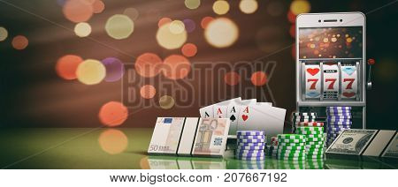 Slot Machine On A Smartphone Screen, Poker Chips, Cards And Money. 3D Illustration