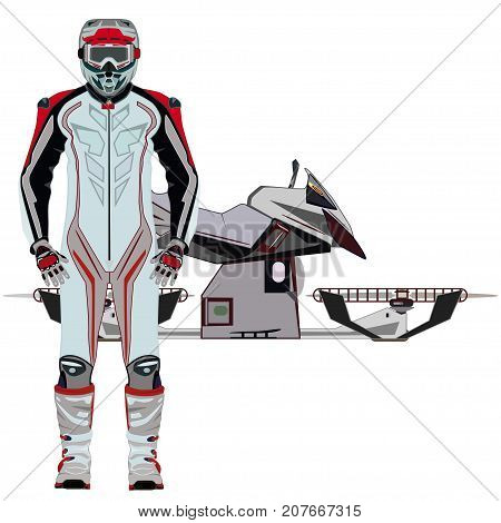 Vector illustration of hover bike rider in motorcycle riding suit and protective gear boots, gloves, helmet and goggles. Hovering motorcycle, hovercraft. Flat style design