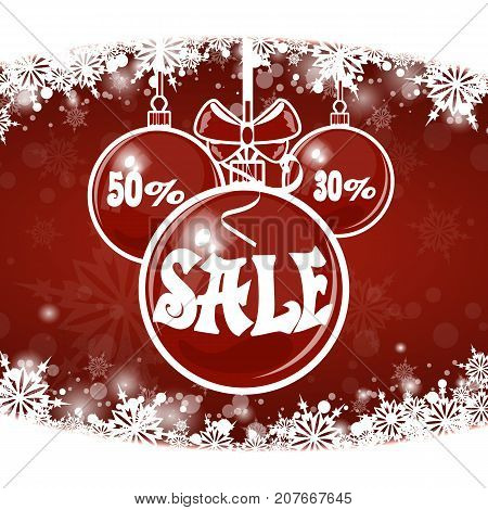 Christmas sale on red background. merry Christmas. Stock vector.