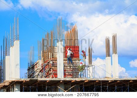 construction workers site and building of housing outdoor. which has sky background with copy space add text ( full High definition picture)