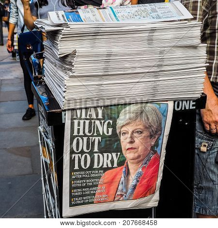 Newspapers Showing Theresa May In London, Hdr