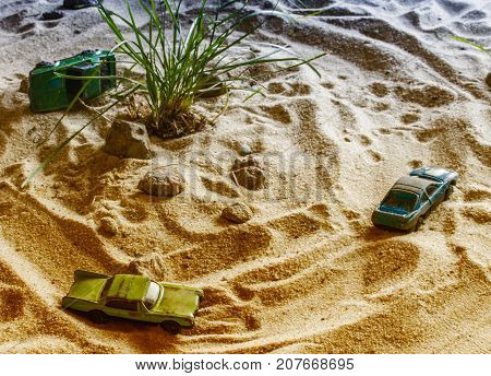 Racing Cars Compete In The Sand. Machines Are Going To Overtake.