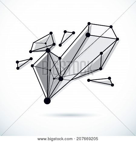 3D engineering vector backdrop abstract polygonal shape. Construction industry illustration.
