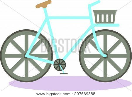 Flat vintage bicycle. Vintage bike. Simple Flat design