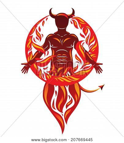 Vector graphic illustration of strong horned wicked male body silhouette surrounded by a fireball. Demonic infernal creature Satan.