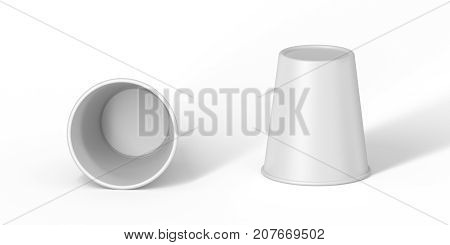 white cardboard Cup on the table upside down. Set template for the placement of the logo. 3D rendering