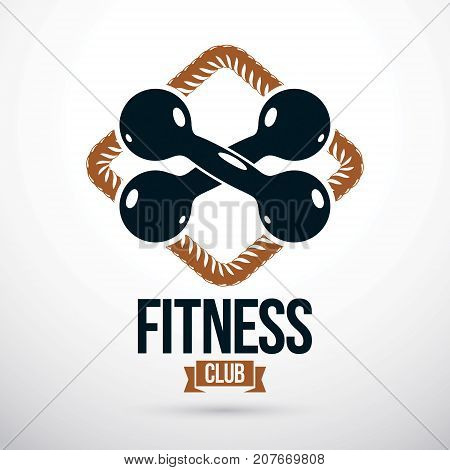 Vector barbell fitness equipment gym and fitness logo template