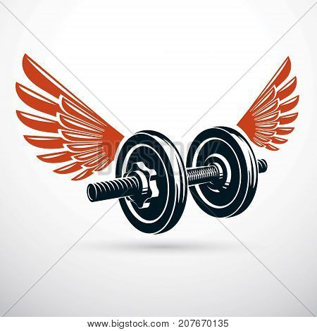 Dumbbell with disc weight vector illustration created using wings. Cross fit and bodybuilding sport equipment for pumping and fitness workout.