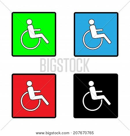 Disabled sign in square set. Mark disability. Icon a place open passage. Symbol paralyzed and human on wheelchair. Safety person warning handicapped illustration. Design element. Vector illustration