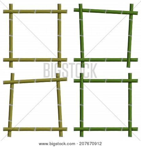 Set empty frames from green bamboo stalks isolated on white background vector illustration.