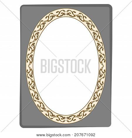 Frame oval of twig on rectangle card. Fashion graphic background design. Modern stylish abstract texture. Colorful template for prints textiles wrapping wallpaper. Design flat element. Vector illustration