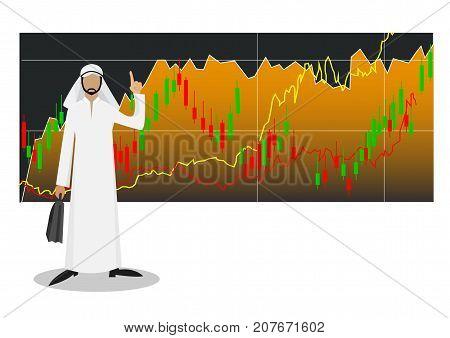 Successful Arab businessman with stock market. Illustration
