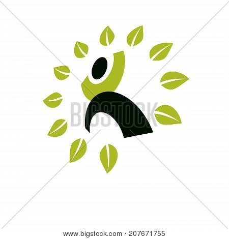 Vector illustration of excited abstract man with raised reaching up. Go green idea creative logo. Ecotourism conceptual icon. Downshifting symbol.