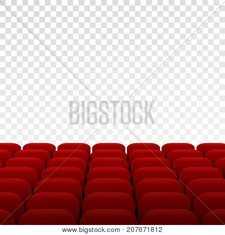 Rows Of Cinema Or Theater Scene And Seats On Transparent Background. Vector Illustration