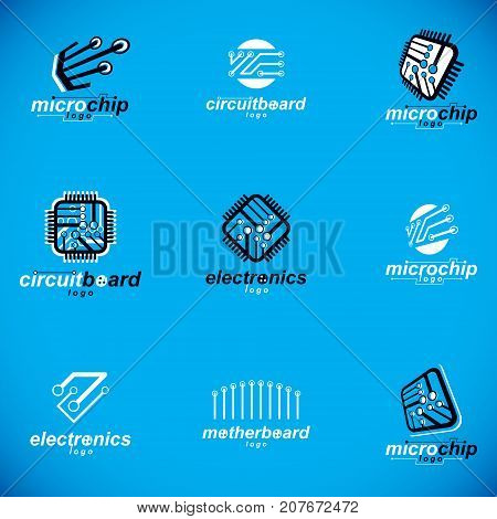 Technology innovation logo. Set of vector abstract computer circuit board technology elements with connections. Electronics theme web design.