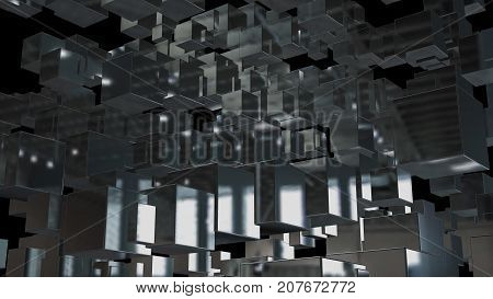 Abstract background with chaotic cubes. 3d rendering.