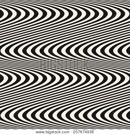 Curved striped wavy lines seamless pattern. Vector texture with black and white waves stripes. Modern abstract monochrome background, optical illusion effect. Repeat design for decoration, covers. Wavy lines pattern. Stripes pattern.