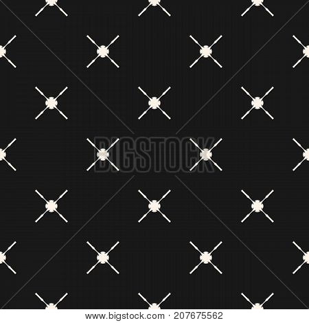 Abstract geometric seamless pattern with simple figures, carved crosses. Black and white ornamental texture. Elegant minimalist background, repeat tiles. Stylish dark design element. Cross pattern. X pattern. - Stock vector