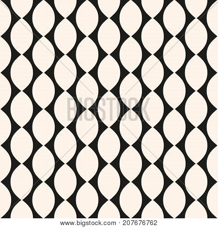 Vector geometric seamless pattern with ovate shapes, curved lines, repeat tiles. Simple abstract monochrome background texture. Illustration of perforated surface mesh. Design for decor, fabric. Mesh background. Geometric background.