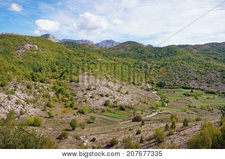 Balkan landscape with a small village in the mountains. Montenegro Sitnica region