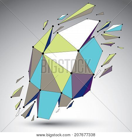 Vector dimensional colorful wireframe object demolished shape with refractions and wreckage. 3d mesh digital technology element broken into pieces.