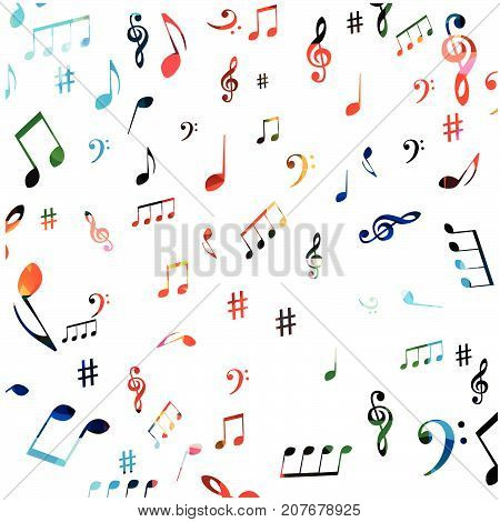 Music symbols seamless background design. Isolated colorful music notes pattern vector illustration