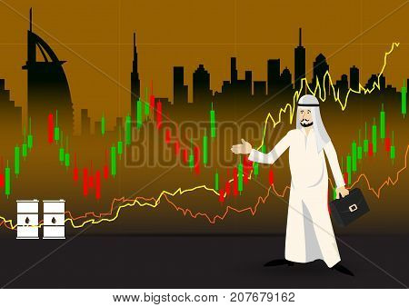 Illustration Arabic Businessman present stock market with Graph of Oil Prices Up, Black Barrels, Dollars and Growth Chart