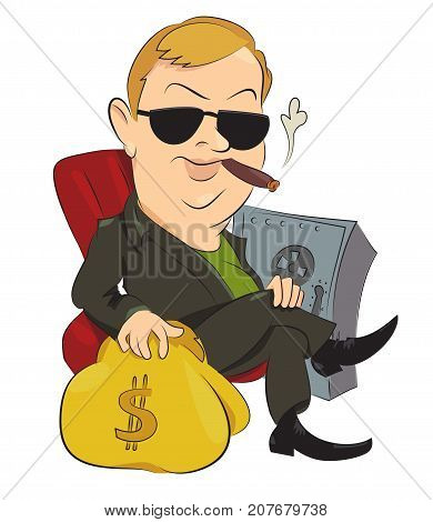 Businessman cartoon hand drawn image. Original colorful artwork, comic childish style drawing.