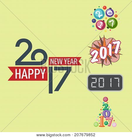Happy new year 2017 text design vector creative graphic celebration greeting party date illustration. Eve decoration christmas season happy holiday number calendar badge.