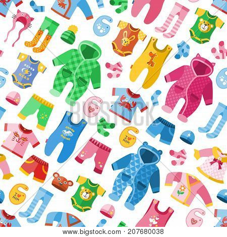Seasonal infant clothes for kids babyish fashion infantile puerile cloth vector illustration seamless pattern background . Cartoon garment outerwear wardrobe apparel costume