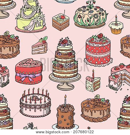 Wedding cake pie hand drawn style sweets dessert bakery ceremony delicious vector illustration. Fresh tasty dessert sweet pastry pie. Gourmet homemade delicious cream seamless pattern background