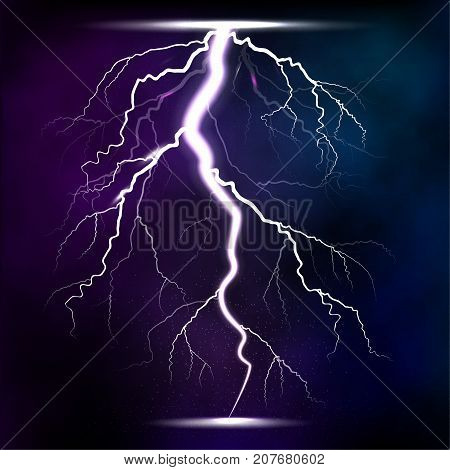 Lightning storm strike realistic 3d light lighting effects vector illustration. Natural lightning bolt storm strike realistic 3d light