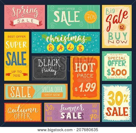 Price tags sales stickers discount promotion sign badge advertising banner offer coupon vector illustration. Black Friday, Christmas and Summer sale