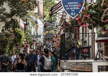 Quebec City Canada 13.09.2017 People in the Lower Town Old Quebec, One of the tourist attractions is a UNESCO Heritage Site
