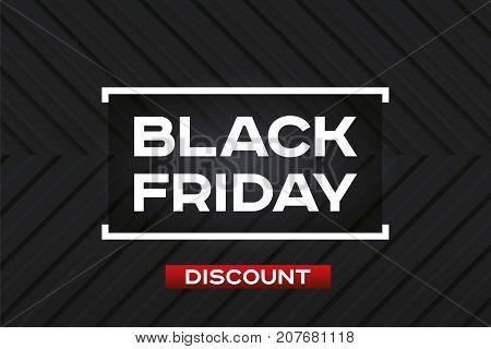 Black Friday Sale. Dark background. Realistic embossing texture, corner strips, black geometric pattern. Red accent. Vector design form for you business projects