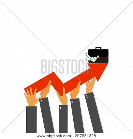 Businessman holding arrow going up. Business people with growth graph