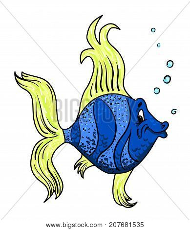 Cartoon image of funny fish. An artistic freehand picture.