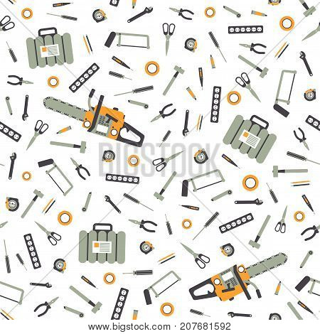 Seamless Pattern with Working Hand Tools for Repair and Construction. Illustration in flat style.