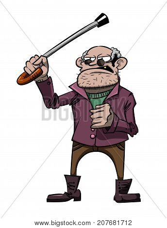 Cartoon image of mean old man. An artistic freehand picture.