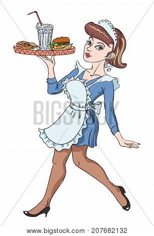 Cartoon image of Retro Pin Up painting of a 1950 waitress holding a tray with a burger, milkshake and fries. An artistic freehand picture.