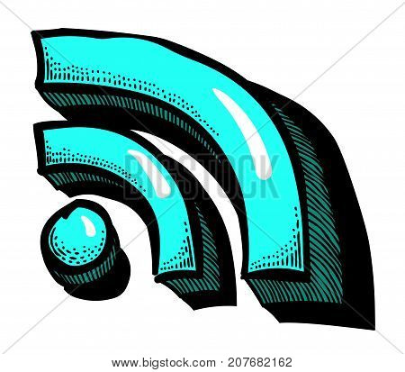 Cartoon image of RSS Icon for your web design, app, UI. An artistic freehand picture.