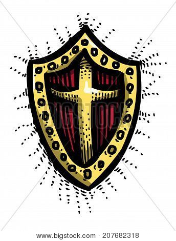 Cartoon image of Shield Icon. Shield symbol. An artistic freehand picture.