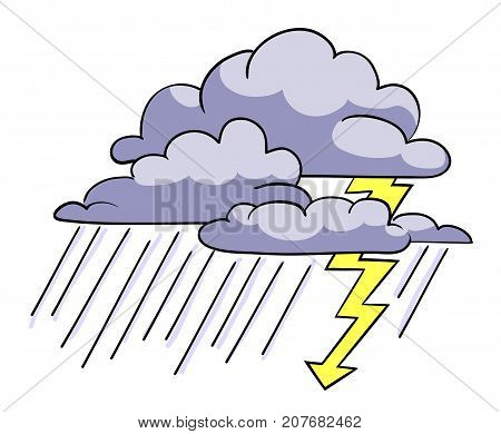 Cartoon image of Storm Icon. Rainstorm symbol. An artistic freehand picture.