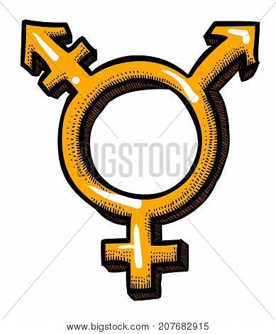 Cartoon image of Transgender Icon. Gender symbol. An artistic freehand picture.