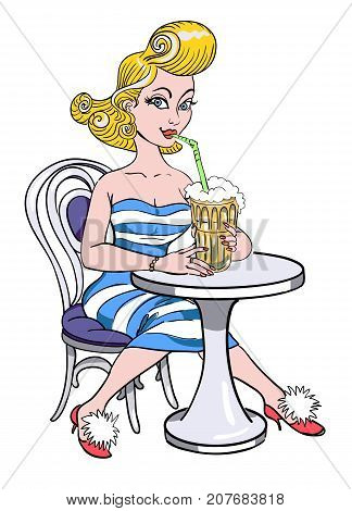Cartoon image of pin up painting of a retro 1950s woman drinking a milkshake. An artistic freehand picture.